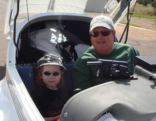6 year old Fabian and Russ in the motor glider cockpit
