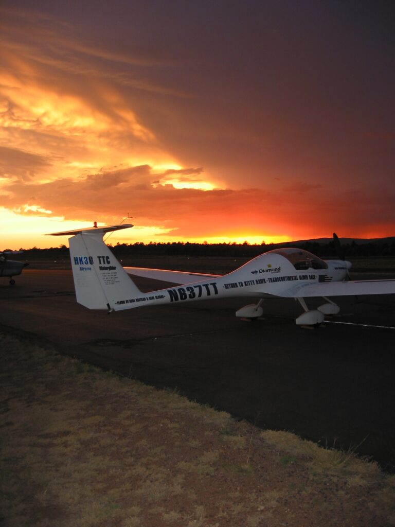 glider at Payson airport at sunset