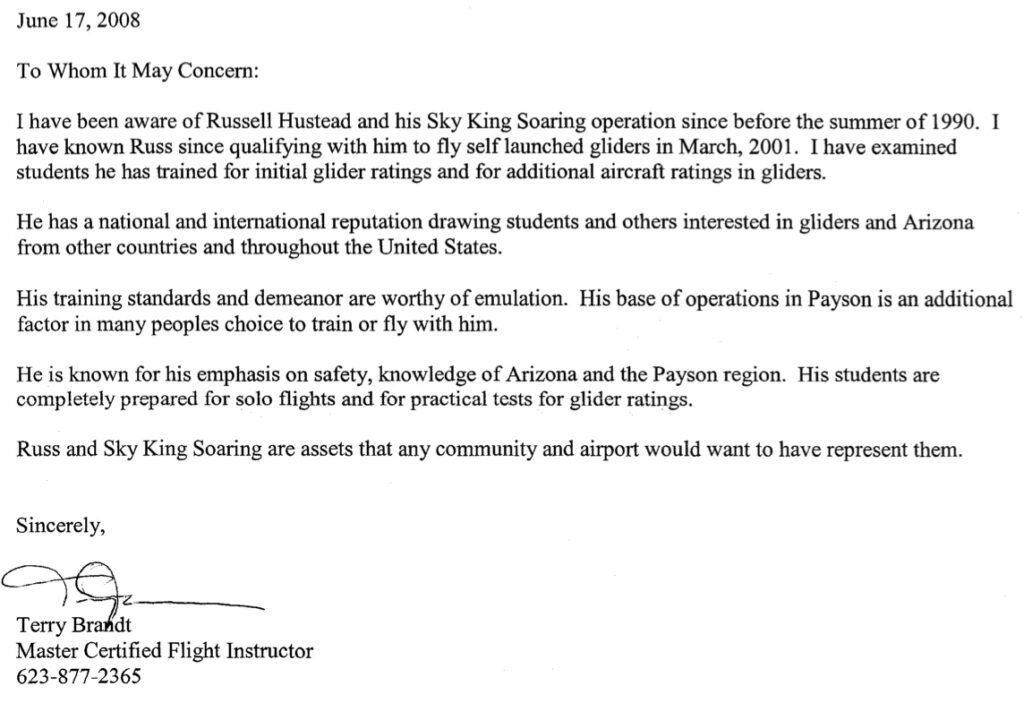 reference letter from Terry Brandt, Master Certified Flight Instructor