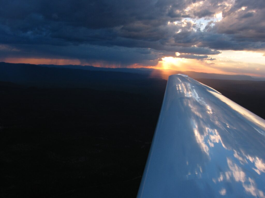 sunset over glider wing at Payson AZ