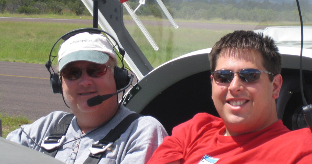 Russ & Brandy in the motor glider cockpit